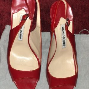 Manolo Blahnik red patent leather